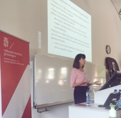 Prof. Nina Biehal explaining developments in the English child protection system
